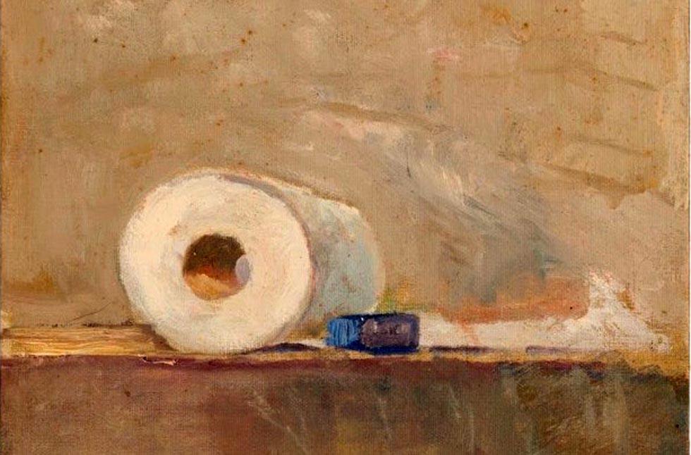Πίνακας ζωγραφικής με ένα ρολό χαρτί υγείας γίνεται ανάρπαστος