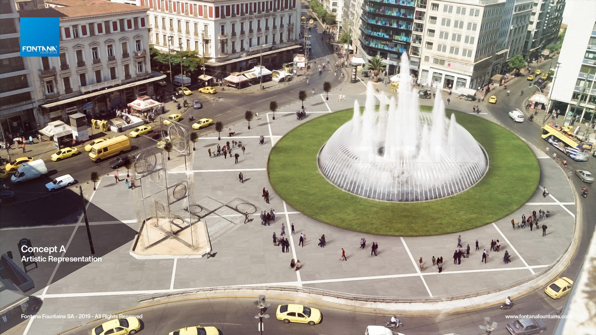 Φωτορεαλιστικό σχέδιο της νέας πλατείας Ομονοίας