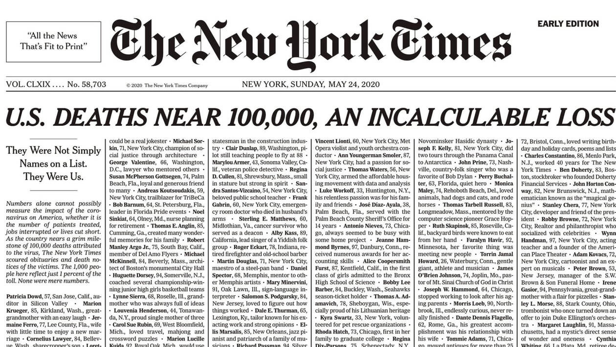 New York Times πρωτοσέλιδο: «Δεν είναι απλά νούμερα, αλλά όλοι εμείς» [pic]
